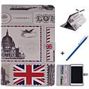 diseño de estilo británico de la PU cuero caso de cuerpo completo con soporte y pluma de capacitancia para Mini iPad 1/2/3