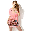 Colloyes 2015 New Sexy Pink Flamingo Deep V Neck Coral Beach Dress(Three Colors Options, Size: S/M/L)