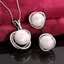 Buy Platinum Plated Pearl Necklace Earrings Fashion / Zircon Wedding Jewelry