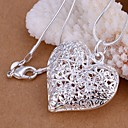 925 Silver Hollow Heart Shape Pendant Necklace (1 Pc)