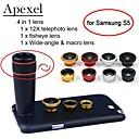 apexel 4 em 1 lente teleobjetiva lente olho de peixe + + + grande angular macro câmera com lente de 12x preto com caso para Samsung Galaxy