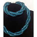 Buy 2015 Mix Colors Stardust Necklace & Bracelet Fashion Jewelry Set Girl Women Gift One (More Colors)