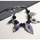 Buy Europe Vintage Inlay Diamond Leaves Rope Necklaces(2Color)
