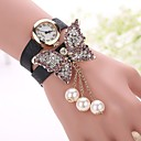 Buy Butterfly Leather Bracelet Watch Relojes Mujer 2015 Women Rhinestones Fashion Woman Quartz relogio feminino Cool Watches Unique