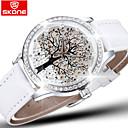 Skone® Brand Crystal Diamond Rhinestone Big Tree Dial Fashion Watches Women Quartz Watch Leather Wristwatch Cool Watches Unique Watches