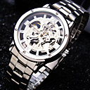 Buy Men's Business Round Rome Dial Mineral Glass Mirror Stainless Steel Band Fashion Mechanical Waterproof Watch
