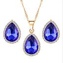Buy Hot 5 Colors Zircon Water-Drop Pendant Necklace Stud Earring Wedding Jewelry Set(Assortd Color)
