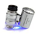 Kleinste Juwelier Mikroskop 60X 2 LED-Mini-Pocket-Mikroskop Lupe Juwelier Lupe