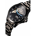 Men's Skeleton Black Steel Band Automatic Mechanical Wrist Watch