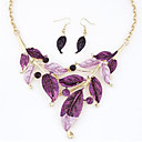 Buy Hot 5 Color Fashion Leaves Pendant Necklace Drop Earring Wedding Jewelry Set