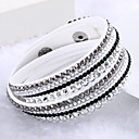 Lureme®Fashion Leather Women's Multilayer Crystal Bracelets