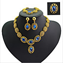 Buy Vintage Pierced Flowers Style Rhinestone Gold Plated (Including Necklace, Earring, Bracelet, Ring) Jewelry Sets