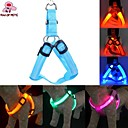 Buy Cat / Dog Harness Reflective LED Lights Adjustable/Retractable Red Green Blue Pink Yellow Orange Rainbow Textile