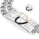 presentes do dia dos namorados amantes de jóias em aço de titânio personalizado de ouro / pulseiras pretas (um par)