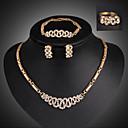 Buy Lucky Doll Women's Vintage 18K Gold Plated Rhinestone Tassel Necklace & Earrings Bracelet Ring Jewelry Sets