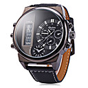 Men's Military Fashion Analog Digital Dual Time Zones Leather Band Quartz Watch