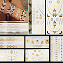 Buy Gold Silver Necklace Ring Feathers Temporary Flash Metallic Tattoos Sticker Waterproof