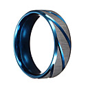 Buy Men Rings Blue Silver Brushed Section Titanium Steel Finger Ring Jewelry bague homme Christmas Gifts