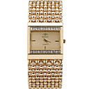 Buy Women's Quartz Casual Fashion Watch Imitation Diamond Golden Silver Simple Personality Stainless Steel Square Alloy Dial Party Wrist