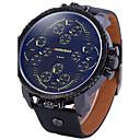 Buy Men's Sport Watch Military Dress Fashion Wrist watch Quartz Dual Time Zones Punk Leather Band Vintage Cool Casual Black
