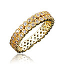 Buy Ring AAA Cubic Zirconia Gold Plated 18K gold White Jewelry Wedding Party Daily Casual 1pc