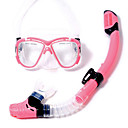 Buy Diving Masks Packages Snorkels Swim Mask Goggle Snorkel Set Dry Top / Snorkeling Swimming PVC Plastic Glass siliconeRed