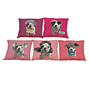 Buy Set 5 French Bulldog Linen Pillow Case Bedroom Euro Covers 18x18 inches Cushion cover