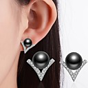 Buy Black White Stud Earrings Pearl Rhinestone Classic Alloy Jewelry ForWedding Party Special Occasion Thank Business Daily Casual