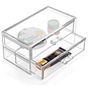 Buy Acrylic Transparent Complex Combined Large Capacity Quadrate Double 2 Layer Makeup Cosmetics Storage Drawer Cosmetic Organizer Jewelry Display Box