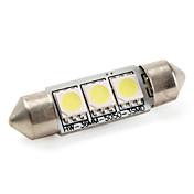 36mm 3x5050 SMD 1W 60lm blanco bombilla de luz LED para lámparas de coche (12V DC)