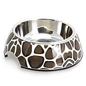 개 고양이 머캐덤 패턴 멜라민 쉘 애완 동물 스테인리스 음식 그릇 (S-XL)