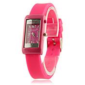 여자의 정연한 다이얼 실리콘 밴드 캐주얼 아날로그 석영 손목 시계 (핑크)