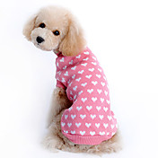 고양이 / 개 스웨터 핑크 강아지 의류 겨울 하트 따뜻함 유지