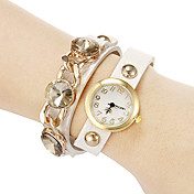 아가씨들 드레스 시계 팔찌 시계 모조 다이아몬드 석영 밴드 블랙 화이트