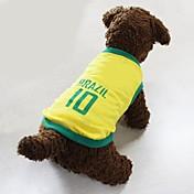 개 티셔츠 져지 옐로우 강아지 의류 여름 문자와 숫자 스포츠