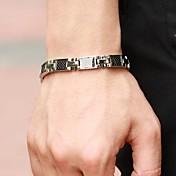 Hombre Pulseras de puño Tenis pulseras Gema Titanio Acero Diseño Único Moda Joyas Plata-Negro Joyas 1 pieza