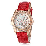 아가씨들 패션 시계 캐쥬얼 시계 일본 쿼츠 모조 다이아몬드 석영 PU 밴드 꽃패턴 블랙 화이트 블루 레드 브라운