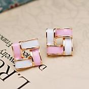 스터드 귀걸이 레진 합금 화이트와 블랙 화이트 그린 화이트/핑크 보석류 용 일상