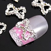 10pcs  3D Hollow Heart Bow Tie DIY Alloy Accessories For Finger Tips Nail Art Decoration