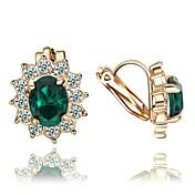 클립 귀걸이 크리스탈 의상 보석 크리스탈 도금 골드 모조 다이아몬드 보석류 제품 결혼식 파티 일상 캐쥬얼