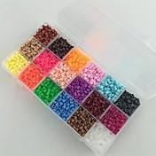 약 5400pcs 18 혼합 색상 5mm의 퓨즈 비즈 아이를 위해 하마 비즈 DIY 퍼즐 EVA 소재의 추구한다 설정 (설정 B, 18 * 300PCS)