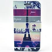 용 삼성 갤럭시 케이스 카드 홀더 / 스탠드 / 플립 / 패턴 케이스 풀 바디 케이스 에펠탑 인조 가죽 Samsung S5 Mini