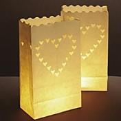 큰 심장 모양의 컷 아웃 종이 선각자 종이 램프 (4 세트)