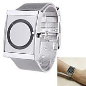 Hombre Reloj creativo único Reloj de Pulsera Cuarzo Acero Inoxidable Banda Plata Blanco Negro