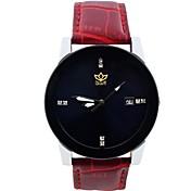 남성 스포츠 시계 크로노그래프 석영 가죽 밴드 블랙 화이트 레드 브라운 퍼플