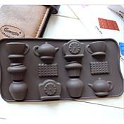 패션 12 홀 차 컵 시계 주전자 DIY 실리콘 케이크 금형 아이스 초콜릿 장식 금형 주방 조리 도구