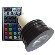 4W GU10 LED 스팟 조명 MR16 1 고성능 LED lm RGB 밝기 조절 리모컨 작동 장식 AC 85-265 V 1개