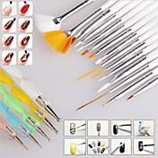 15pcs uñas de arte pintura al diseño del cepillo de la pluma de dibujo establece con 5pcs 2 vías herramienta de la pluma que salpican