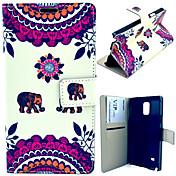 삼성 갤럭시 노트 4 n9100에 대한 카드 가방 전신 케이스와 귀여운 코끼리 패턴