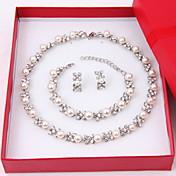 Mujer Juego de Joyas Pendientes cortos hebras de perlas Collar con perlas Perla Elegant joyería de disfraz Perla Diamante Sintético Forma
